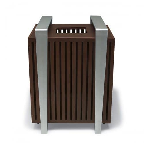 faux wood color of 32 gallon trsh receptacle