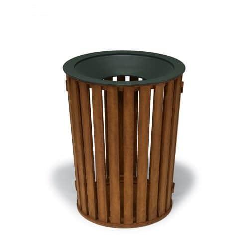 round, faux wood slat pattern trash receptacle