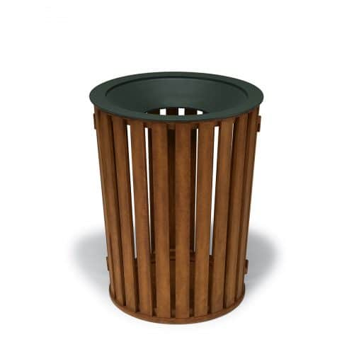 round, faux wood slat pattern trash receptacle