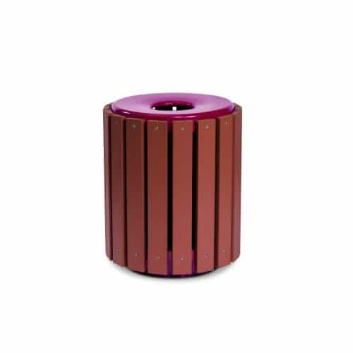 Flat top 32 gallon recycled plastic trash can