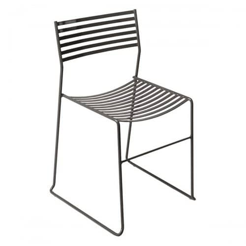 wrough iron frame and steel slats side chair