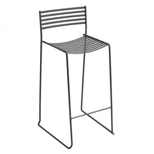 iron frame with steel slats in counterstool