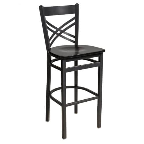 crossback steel barstool with wood seat