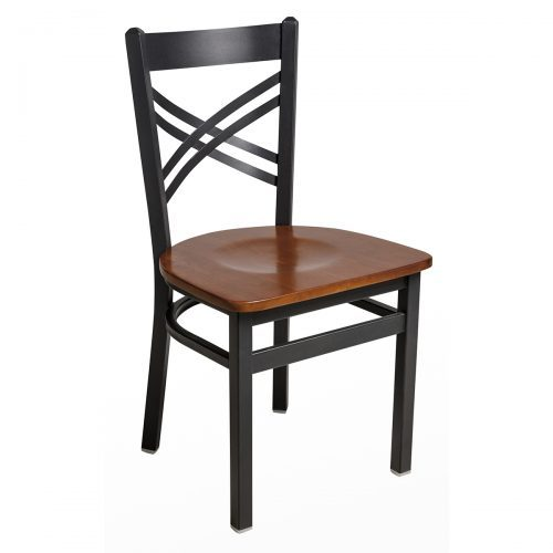 crossback steel chair with wood seat