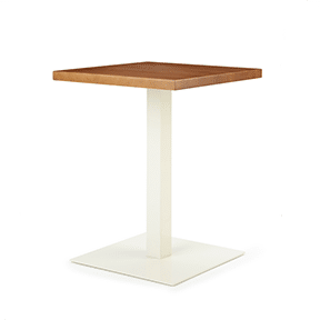 white base side table with wood top
