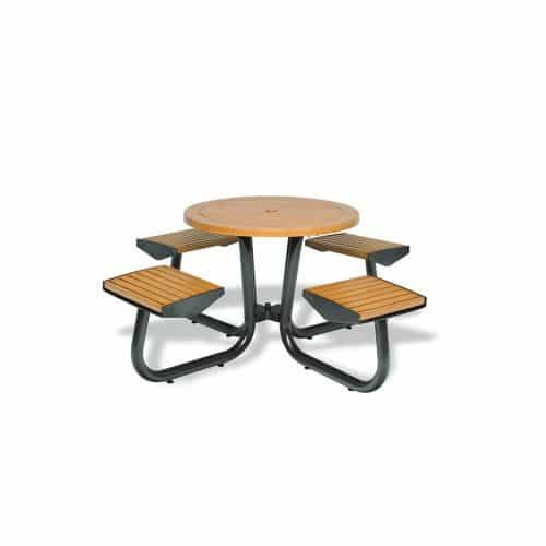 """36"""" table with chairs attached without backs"""