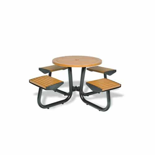 "36"" table with chairs attached without backs"