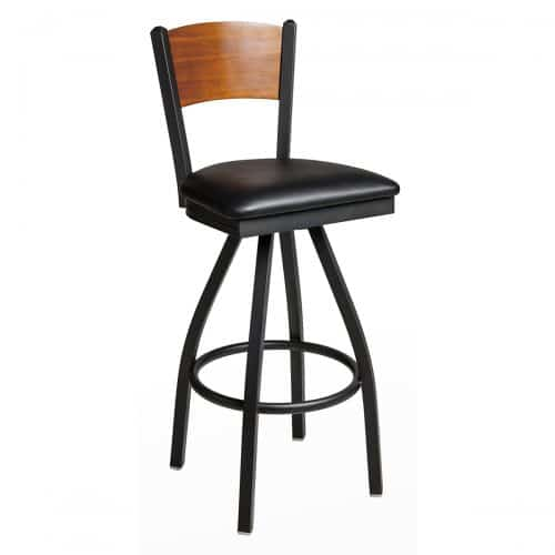 steel frame swivel barstool with upholstered seat