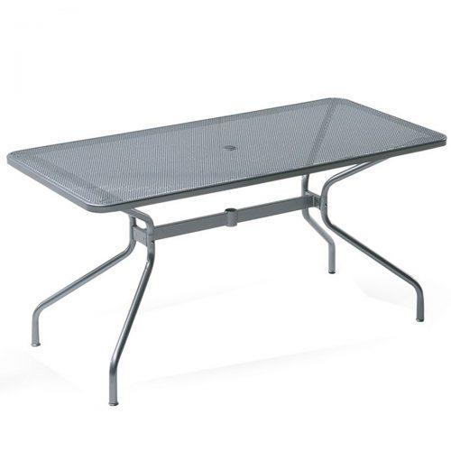 steel mesh table with tubular steel legs