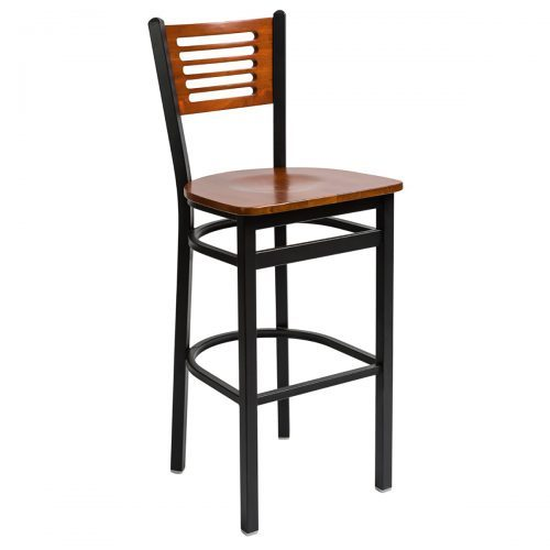 black steel frame barstool with slotted wood back and wood seat