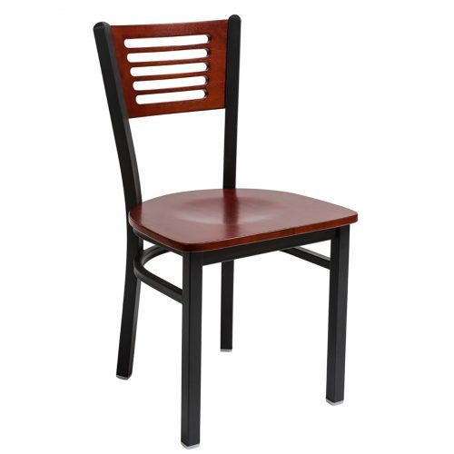 black steel frame chair with slotted wood back and wood seat