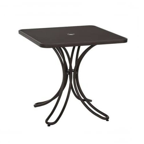 Square Table with extended steel mesh and umbrella hole