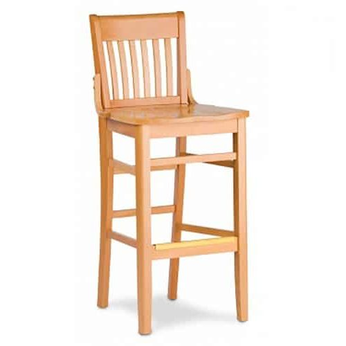 light wood barstool with decorative brackets and wood seat
