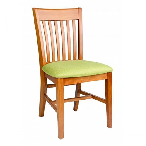 wood chair with green upholstered seat