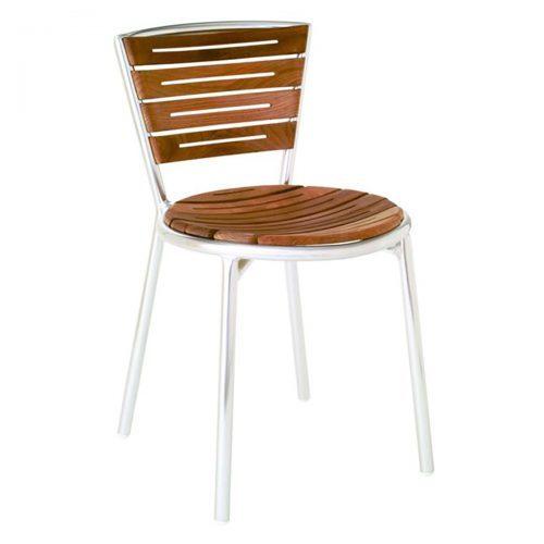 teak slats with aluminum frame side chair