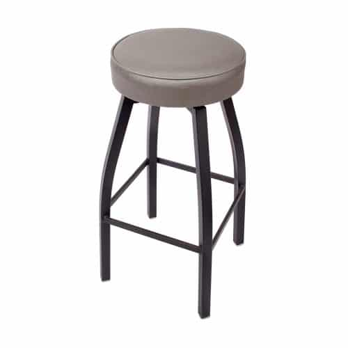 swivel backless barstool with sand black finish