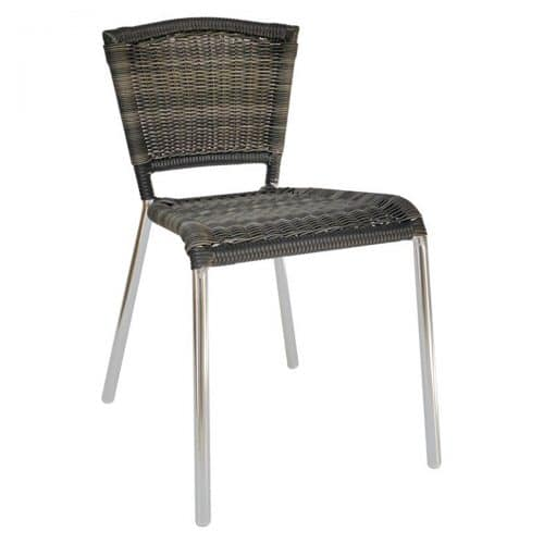 aluminum frame with wicker seat and back side chair