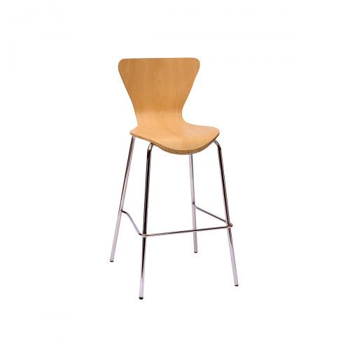 modern barstool with silver frame and natural wood