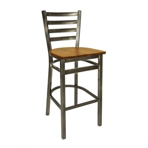 black clear coat steel chair with ladder back and wood seat