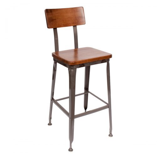 industrial barstool with wood seat and back and clear coat finish