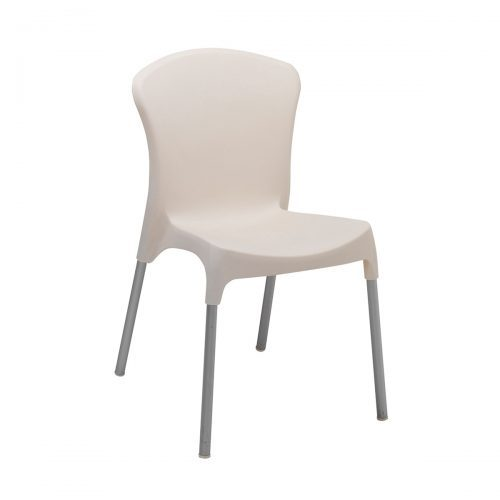 white resin outdoor side chair with cream finish