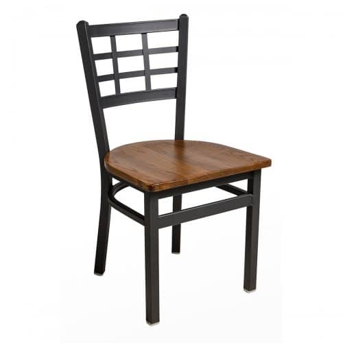 black steel chair with window pane back and wood seat