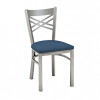 metal chair with cross back bars and upholstery