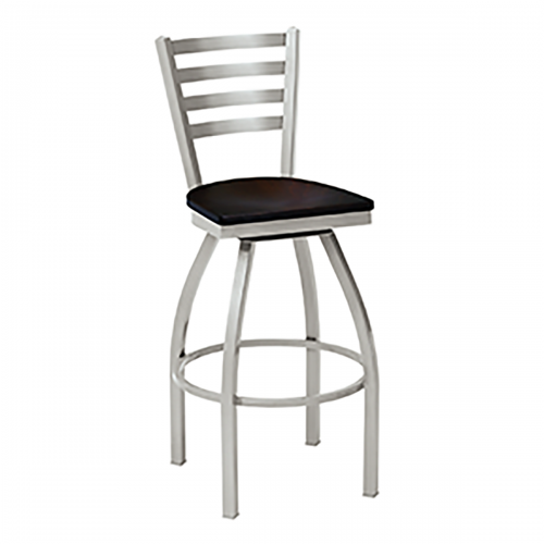 swivel barstool with ladder back and wood seat