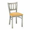 metal chair with vertical back bars and upholstery
