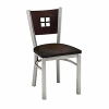 metal chair with wood back design and wood seat