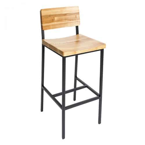 wood barstool with metal frame
