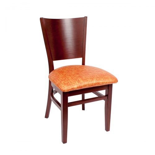 wood chair with high back and upholstery