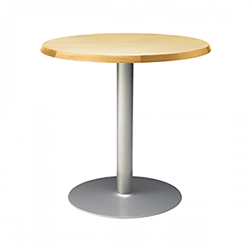 metal base table with light wood top