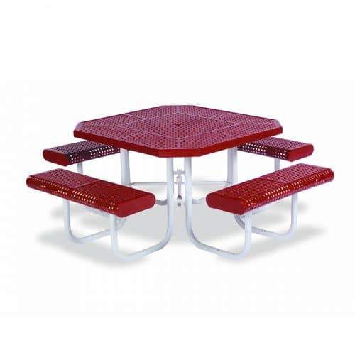 "46"" octagon table with 4 seats attached"