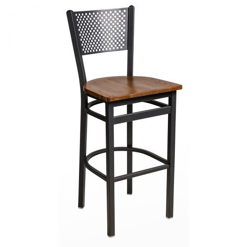 black steel barstool with perforated back and wood seat