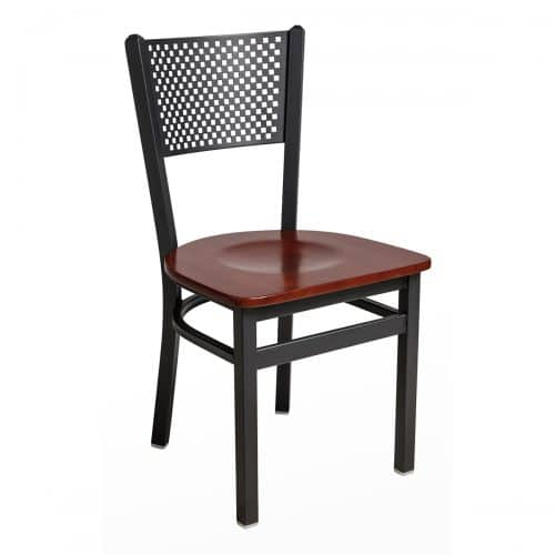 black steel chair with perforated back and wood seat