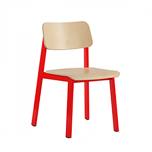 red frame chair with light wood seat and back