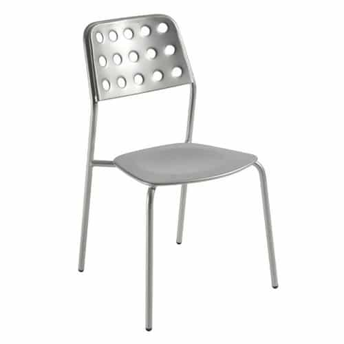 steel side chair with circle back design