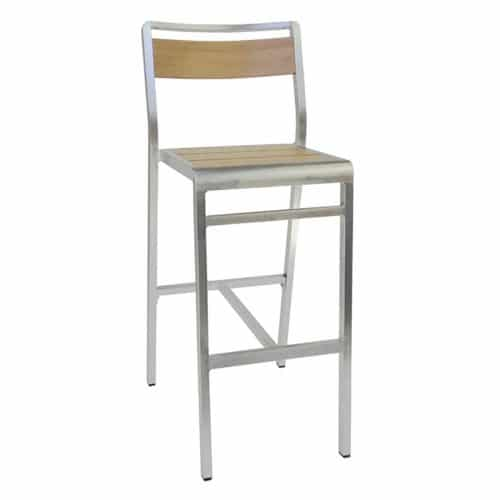 wood look aluminum Sid barstool in oak