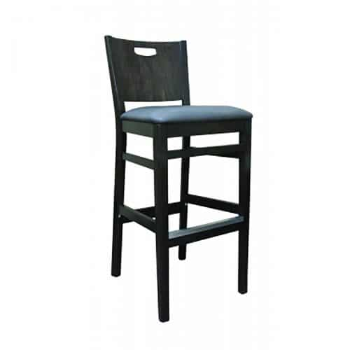 modern barstool with hand cut out and upholstered seat