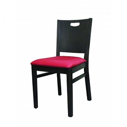 modern chair with hand cut out and upholstered seat