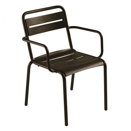 powder coated steel slat arm chair