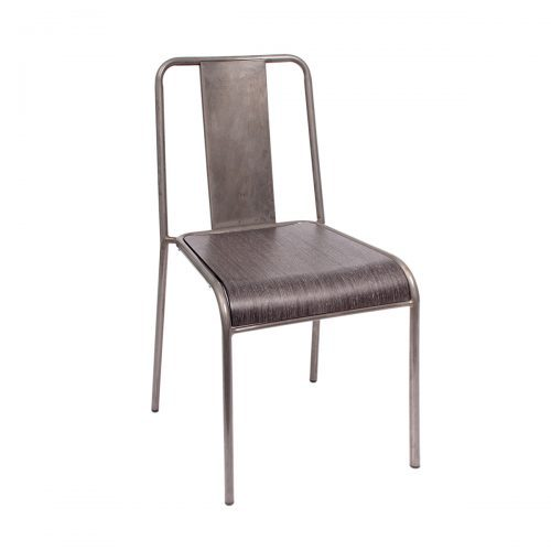 steel chair with wood veneer and clear coat finish
