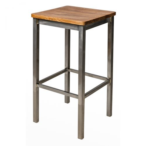 barstool with wood seat and clear coat finish