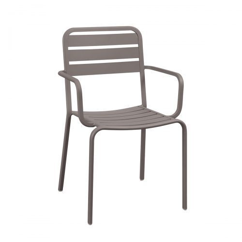 aluminum outdoor armchair in earth finish