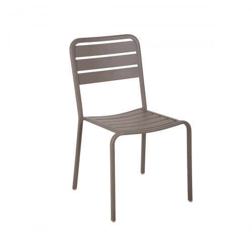 aluminum outdoor side chair in earth finish