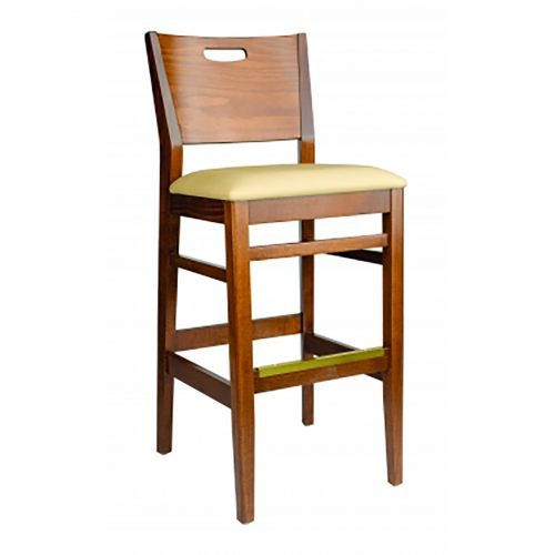modern barstool with hand cut out, curved back, and upholstered seat