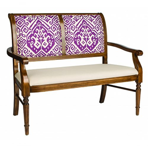 two person wood bench with upholstery