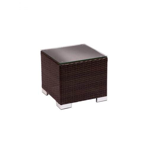 weave end table in dark brown