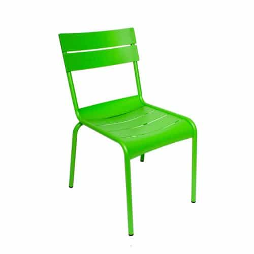 green outdoor side chair with raised back